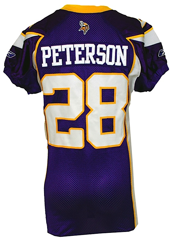 Lot Detail - 2008 Adrian Peterson Minnesota Vikings Game-Issued Home ... 9ff68fd80
