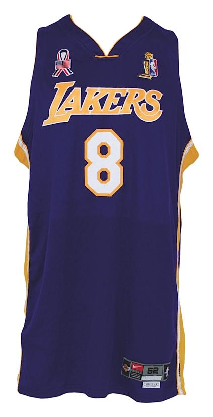 68d8ea86d Lot Detail - 2001-2002 Kobe Bryant Los Angeles Lakers Game-Used Road ...