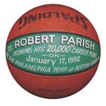 1/17/1992 Robert Parish Boston Celtics 20,000th Career Point Game Basketball (Parish LOA)