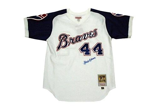best sneakers 56c08 e50ae Lot Detail - Hank Aaron 1974 M&N Home Atlanta Braves Jersey ...