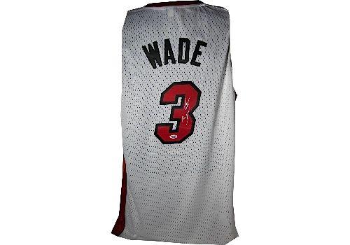 sports shoes b38be 7dc23 Lot Detail - Dwyane Wade Signed White Swingman Heat Jersey ...