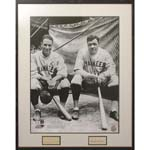Framed Babe Ruth & Lou Gehrig Autographed Cuts & Photo Display Piece (Full JSA LOA)