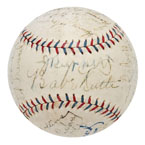 1928 NY Yankees World Championship Team Autographed Baseball with Ruth, Gehrig & Ruppert (Full JSA LOA • Originates From Jacob Ruppert)