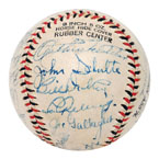 Late 1930s Barnstorming Multi-Signed Baseball with Gehrig & DiMaggio (Full JSA LOA)