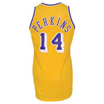 1989-90 Sam Perkins Los Angeles Lakers Game-Used Home Jersey (BBHoF LOA)