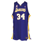 2001-02 Shaquille ONeal Los Angeles Lakers Game-Used Road Jersey (Championship Season • Finals MVP • BBHoF LOA)