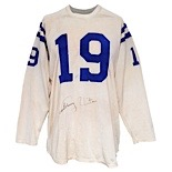 Circa 1960 Johnny Unitas Baltimore Colts Game-Used & Autographed Home Durene Uniform (2)(Full JSA LOA • Photomatch • Pristine Provenance • Numerous Repairs • Finest Known Example)