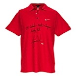"11/15/2009 Tiger Woods Australian Masters Tournament-Worn & Autographed Polo Shirt (JSA • UDA • Signature ""Sunday"" Red • Photomatch)"