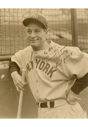 "Lou ""Eleanor"" Gehrig Autographed Photo Inscribed to Teammate Pat Collins (JSA • Collins Family LOA)"