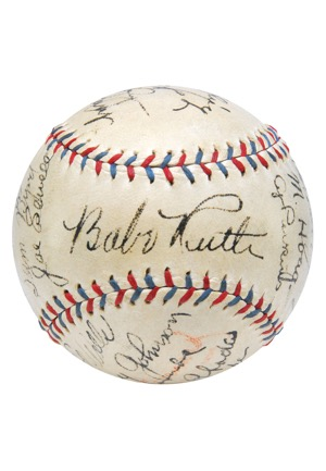 Exceptional 1931 New York Yankees Team Autographed Official American League Baseball with Ruth & Gehrig (Full JSA LOA • 23 Sigs & 10 HoFers)