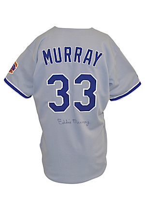 1997 Eddie Murray Los Angeles Dodgers Game-Used & Autographed Road Jersey (JSA)