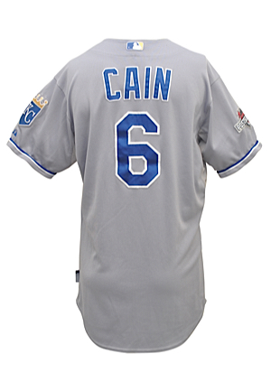 2015 Lorenzo Cain Kansas City Royals MLB Playoffs Game-Used Road Jersey (MLB Hologram • ALDS Game 3 & 4; ALCS Game 4)