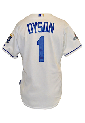 2015 Jarrod Dyson Kansas City Royals MLB Playoffs Bench-Worn Home Jersey (MLB Hologram • ALCS Games 1, 2 & 6 • Championship Season • Unwashed)