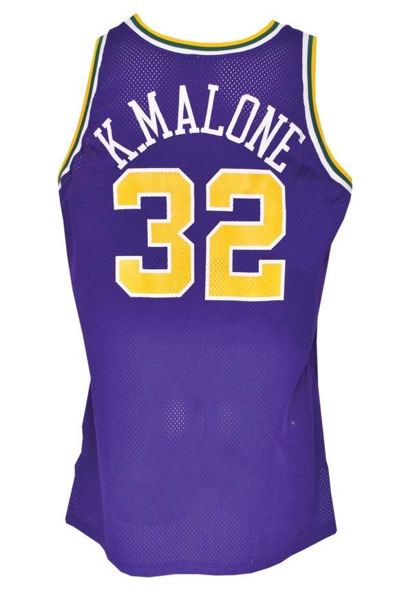 99c637c21 Lot Detail - 1993-94 Karl Malone Utah Jazz Game-Used Road Uniform (2 ...