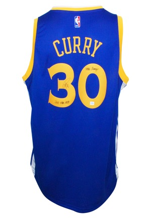 "Stephen Curry Golden State Warriors Autographed Replica Swingman Road Jersey with ""NBA Champs"" & ""2015 NBA MVP"" Inscriptions (JSA • Curry COA)"