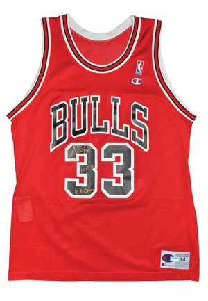 "Scottie Pippen Chicago Bulls Autographed Replica Road Jersey with ""HOF 10"" & ""6x Champs"" Inscriptions (JSA)"