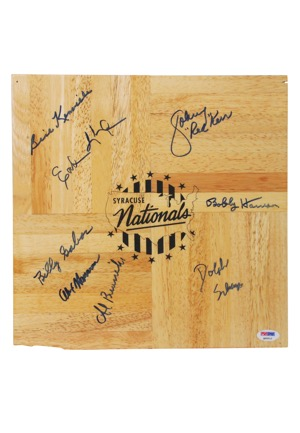 "Syracuse Nationals Team-Signed Floorboard with Johnny ""Red"" Kerr and Dolph Schayes (JSA • PSA/DNA)"