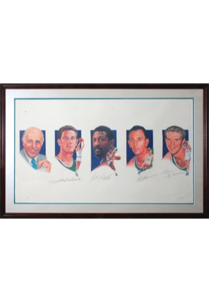 Framed Boston Celtics Legacy Multi-Signed Limited Edition Lithograph with Auerbach, Havlicek, Russell, Cousy & Heinsohn (JSA)