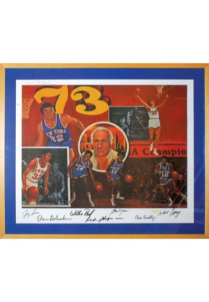 Framed 1973 New York Knicks Team-Signed Limited Edition Lithographs (4)(JSA • Championship Season)