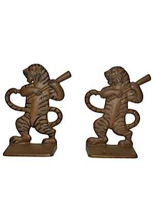 "Vintage Style Cast Iron Bookends Modeled After The ""Batting Tiger"" Featured On The Figural End Caps At Tigers Stadium (2)"