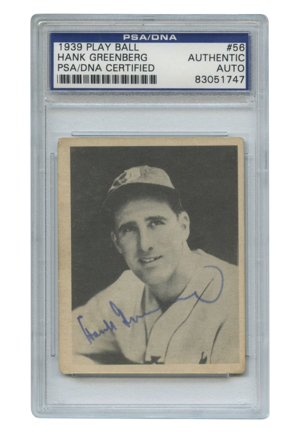 1939 Hank Greenberg Play Ball #56 Autographed Encapsulated Card (JSA • PSA/DNA)