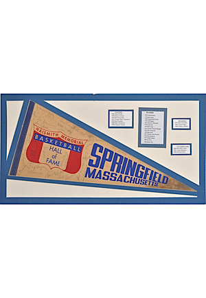 Naismith Memorial Basketball Hall of Fame Multi-Signed Pennant (JSA • 28 HoFers)