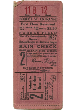 1927 World Series Ticket — Game No. 2 at Pittsburgh