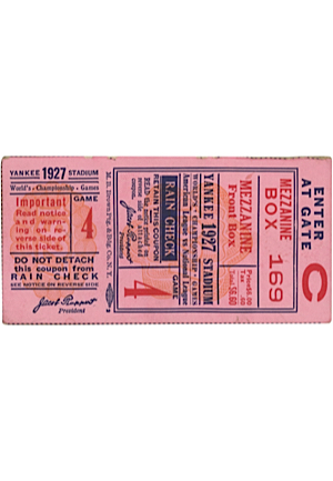 Walter Johnsons Personal 1927 World Series Ticket Stub — Game 4 (Sourced From Johnson Family • Championship Clinching Game)