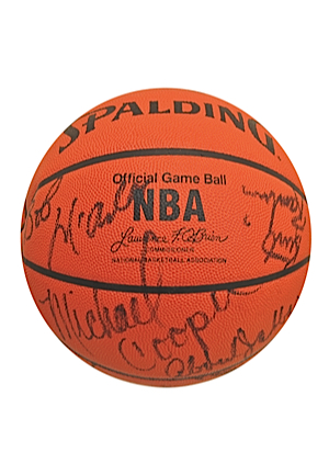 "1983-84 Los Angeles Lakers Team-Signed Basketball Including Kareem Abdul-Jabbar, Ervin ""Magic"" Johnson & James Worthy (JSA • NBA Finals Season)"