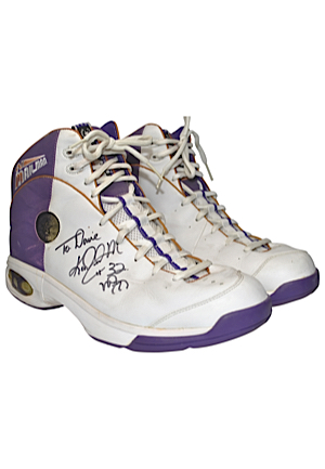 Circa 1990 Karl Malone Utah Jazz Game-Used & Autographed Sneakers (JSA • Ball Boy LOA)