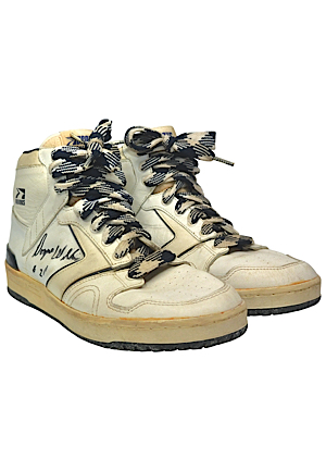 Late 1980s Dominique Wilkins Atlanta Hawks Game-Used & Autographed Sneakers (JSA • Ball Boy LOA)