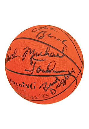 1982-83 UNC Tar Heels Team-Signed Basketball Featuring Rare Early Jordan (JSA • PSA/DNA)