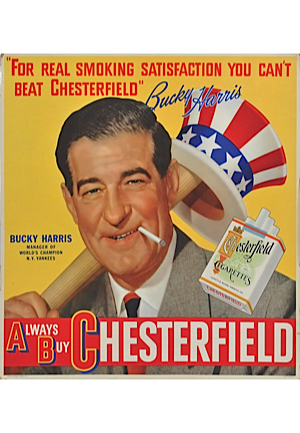 "Bucky Harris & Jack Webb 22"" x 21"" Chesterfield Advertisements (2)"