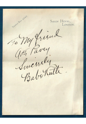 High-Grade Babe Ruth Autographed Note On Hotel Stationary (Full JSA LOA)