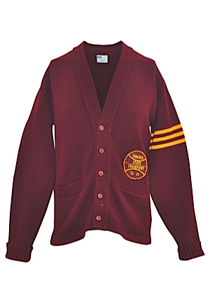 1973-74 Moses Malone Petersburg High School Player-Worn Letterman Sweater (Family Member LOA)