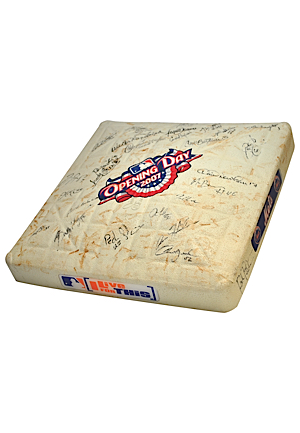 4/9/2007 New York Mets Opening Day Game-Used & Team-Signed Base (JSA • MLB Hologram • Sourced From Julio Franco)