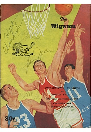 11/26/1959 Philadelphia Warriors vs Boston Celtics Program Autographed by Sam Jones, K.C. Jones, Bill Russell & Rookie Wilt Chamberlain (JSA)