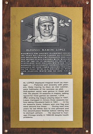 Al Lopez National Baseball Hall of Fame Plaque (From HoF Traveling Exhibit)