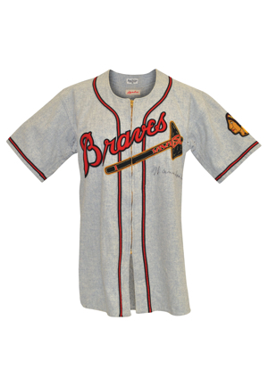 Late 1940s Warren Spahn Boston Braves Game-Used & Autographed Road Flannel Jersey (Full JSA LOA • Fantastic All-Original Condition • Originally Sourced From Team Scout)