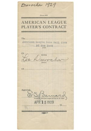 1929 Leo Durocher New York Yankees Signed Players Contract (Full JSA)