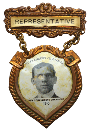 "1910 Christy Mathewson Highlanders vs. Giants NYC Inter-League ""Manhattan Championship"" Pinback ID Badge (Photo From 1910 Team Sheet)"