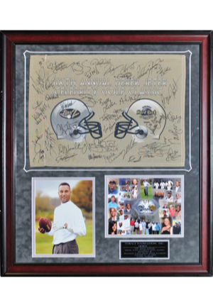 The Sixth Annual Derek Jeter Golf Classic Autographed Framed Display Including Michael Jordan, Darryl Strawberry, Don Zimmer, Tino Martinez & Others (JSA)