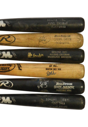Lot Of Game-Used Bats — Circa 2002 Autographed Shawn Green Los Angeles Dodgers, 2003 Autographed Grady Sizemore Cleveland Indians Minor League, 2005-06 Tomo Ohka Milwaukee Brewers, 2006 Yunel...