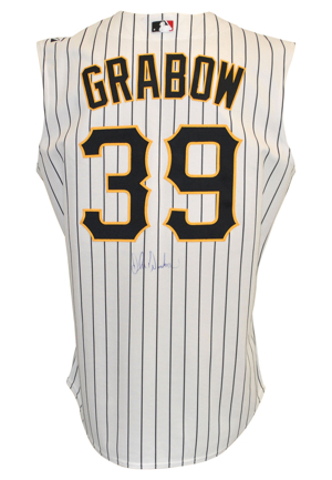 2000 Eddie Zosky Pittsburgh Pirates Batting Practice Jersey & 2005 John Grabow Pittsburgh Pirates Game-Used & Autographed Home Vest (2)(JSA • Pittsburgh Pirates LOAs)