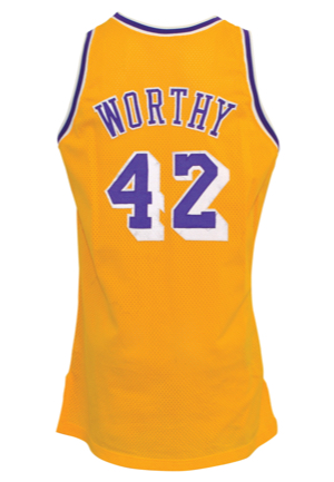 1992-93 James Worthy Los Angeles Lakers Game-Used Home Jersey