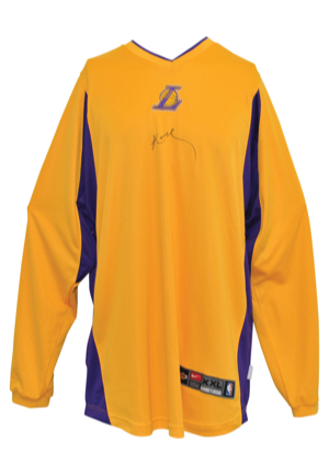 Mid 2000s Los Angeles Lakers Player-Worn & Autographed Home Shooting Shirt Attributed To Kobe Bryant (JSA • NBA Hologram)