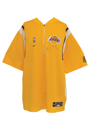 1999-00 Los Angeles Lakers NBA Finals Dual Autographed Home Shooting Shirt Attributed To Kobe Bryant (PSA/DNA • D.C. Sports LOA)