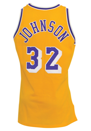 "1990-91 Earvin ""Magic"" Johnson Los Angeles Lakers Game-Used Home Jersey"