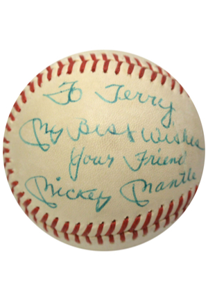 Mickey Mantle Single-Signed Reach OAL Baseball With Inscription (JSA)