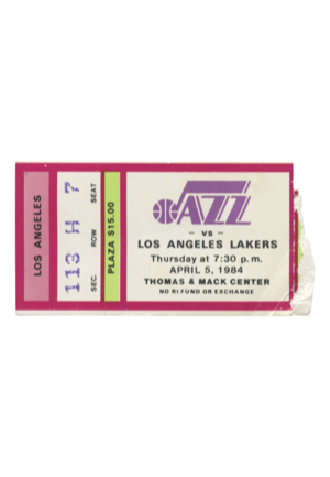 4/5/1984 Utah Jazz Vs. Los Angeles Lakers Ticket Stub — Kareem Abdul-Jabbar Breaks NBA All-Time Scoring Record